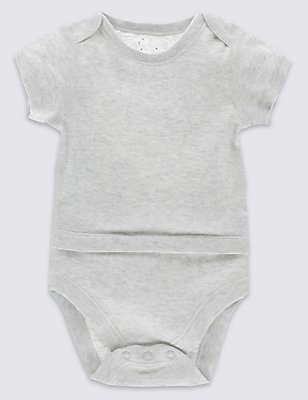 Pure Cotton Short Sleeve Bodysuit with Popper Tummy (0-3 Years), GREY MARL, catlanding