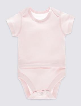 Body 100% coton à manches courtes (du 0 au 3ans), ROSE, catlanding
