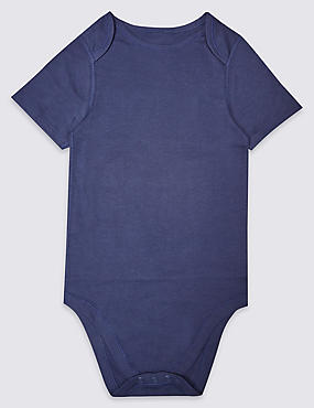 Pure Cotton Short Sleeve Bodysuit (3-16 Years), INDIGO, catlanding