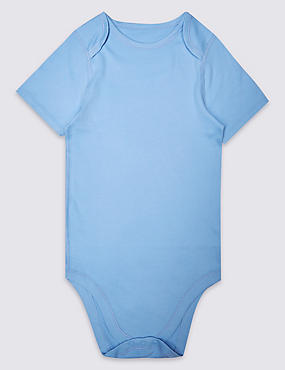 Pure Cotton Short Sleeve Bodysuit (3-16 Years), LIGHT BLUE, catlanding