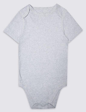 Pure Cotton Short Sleeve Bodysuit (3-16 Years), GREY MARL, catlanding
