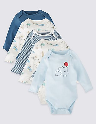5 Pack Pure Cotton Long Sleeve Bodysuits, BLUE MIX, catlanding