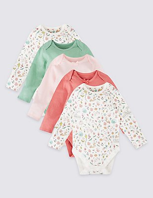 5 Pack Pure Cotton Bodysuits, PINK MIX, catlanding