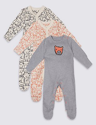 3 Pack Pure Cotton Teddy & Friends Sleepsuits, WHITE MIX, catlanding