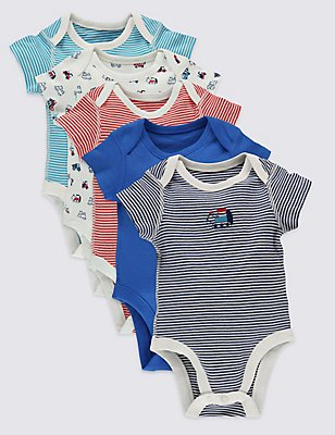 5 Pack Pure Cotton Baby Bodysuits, NAVY MIX, catlanding