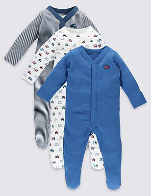 3 Pack Long Sleeve Pure Cotton Sleepsuits, NAVY MIX, catlanding