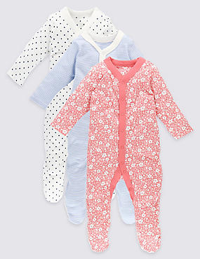 3 Pack Long Sleeve Pure Cotton Sleepsuits, RED MIX, catlanding