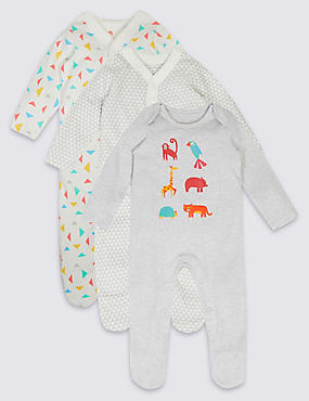 3 Pack Geometric Animal Print Cotton Sleepsuits, WHITE MIX, catlanding