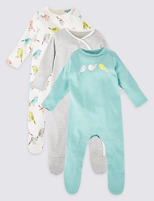 3 Pack Pure Cotton Bird Sleepsuits, AQUA MIX, catlanding