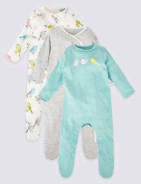 3 Pack Pure Cotton Sleepsuits, AQUA MIX, catlanding