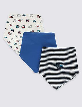 Lot de 3bavoirs style bandana 100% coton à imprimé camions, BLEU MARINE ASSORTI, catlanding
