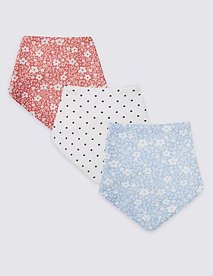 3 Pack Pure Cotton Assorted Dribble Bibs, RED MIX, catlanding