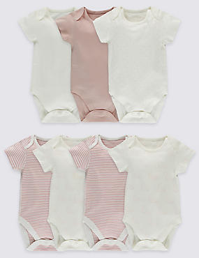 7 Pack Pure Cotton Short Sleeve Bodysuits, PINK MIX, catlanding