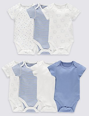7 Pack Pure Cotton Baby Bodysuits, BLUE MIX, catlanding