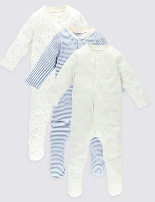 3 Pack Long Sleeve Pure Cotton Sleepsuits, BLUE MIX, catlanding