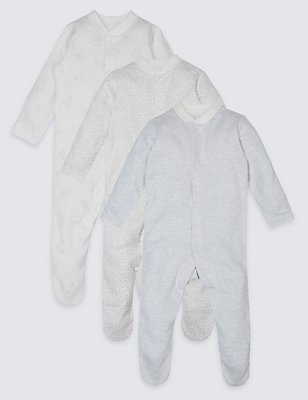 3 Pack Pure Cotton Baby Sleepsuits , GREY MIX, catlanding