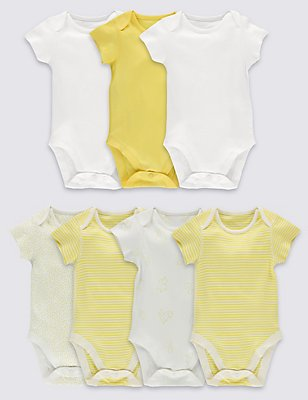 7 Pack Pure Cotton Baby Bodysuits, YELLOW MIX, catlanding