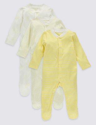 Lot de 3dors-bien bébés 100% coton, JAUNE ASSORTI, catlanding