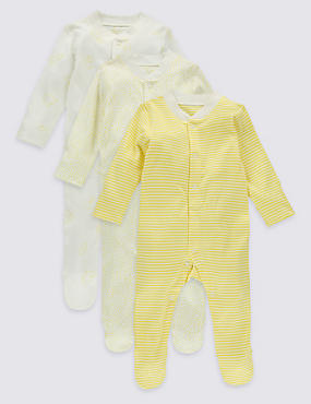 3 Pack Pure Cotton Baby Sleepsuits, YELLOW MIX, catlanding