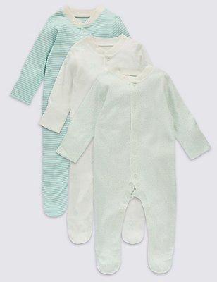 3 Pack Pure Cotton Baby Sleepsuits, AQUA MIX, catlanding