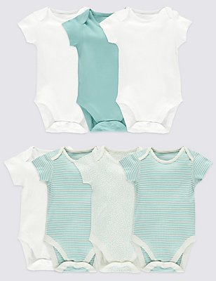 7 Pack Pure Cotton Baby Bodysuits, AQUA MIX, catlanding