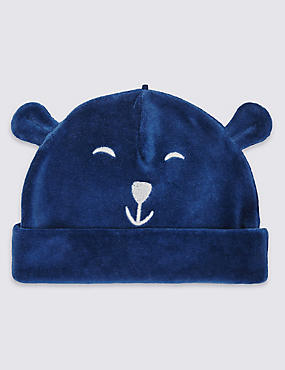 Bonnet en velours de coton à motif ours, DENIM, catlanding