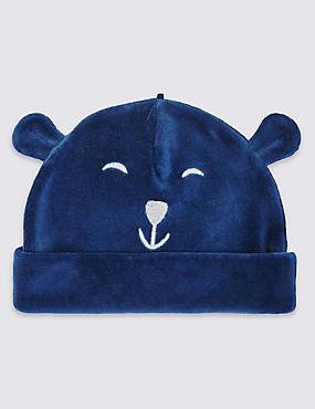 Cotton Rich Bear Velour Hat, DENIM, catlanding
