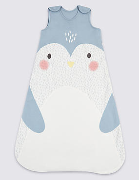 Pure Cotton 2.1 Tog Penguin Sleeping Bag, GREY MIX, catlanding