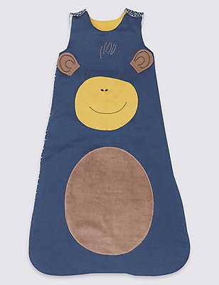 Pure Cotton 2.3 Tog Monkey Sleeping Bag, DARK BLUE MIX, catlanding