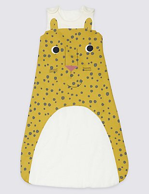 Pure Cotton 2.2 Tog Cheeky Cheetah Sleeping Bag, YELLOW MIX, catlanding