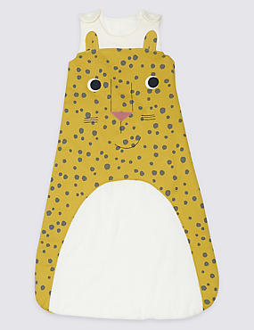 Pure Cotton 2.5 Tog Cheeky Cheetah Sleeping Bag, YELLOW MIX, catlanding