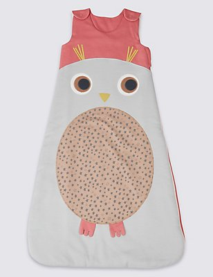 Pure Cotton Tog 2.3 Owl Sleeping Bag, GREY MIX, catlanding