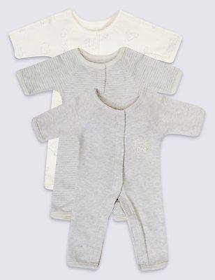 Set van 3 uniseks slaappakjes van puur katoen voor vroeggeboren baby's, ROZE MIX, catlanding