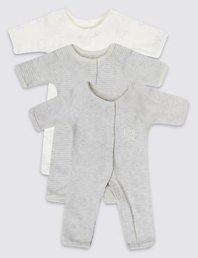 3 Pack Premature Pure Cotton Sleepsuits, PINK MIX, catlanding