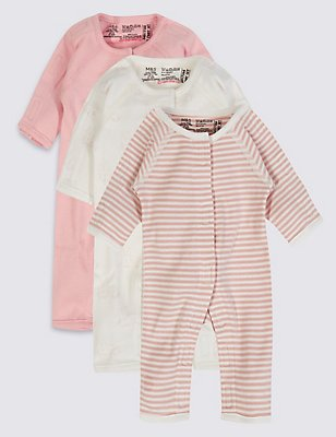 3 Pack Girls Premature Sleepsuits, PINK MIX, catlanding
