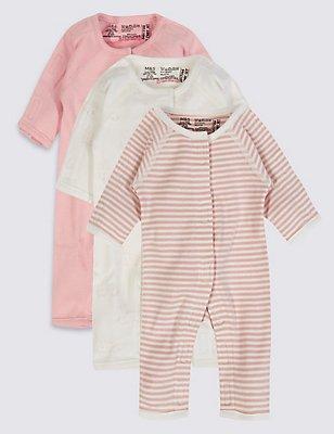 Set van 3 slaappakjes voor vroeggeboren meisjes, ROZE MIX, catlanding