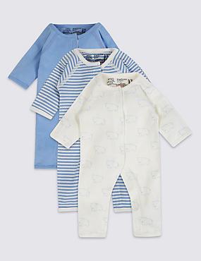 3 Pack Premature Pure Cotton Sleepsuits, BLUE MIX, catlanding