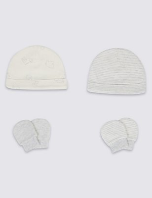 4 Piece Pure Cotton Premature Hat & Mittens Set, MID GREY, catlanding