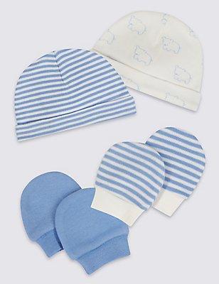 Pack de 4 piezas con gorro y manoplas 100% algodón para bebés prematuros, MEZCLA DE TONOS AZULES, catlanding