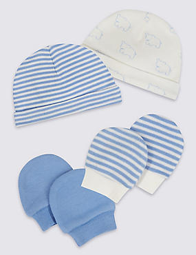 4 Pack Pure Cotton Premature Hat & Mittens Set, BLUE MIX, catlanding