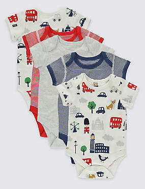 5 Pack London Print Cotton Bodysuits, BLUE MIX, catlanding