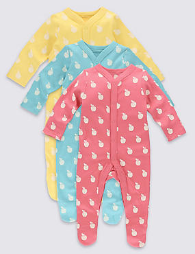 3 Pack Apple Print Cotton Sleepsuits, MULTI, catlanding