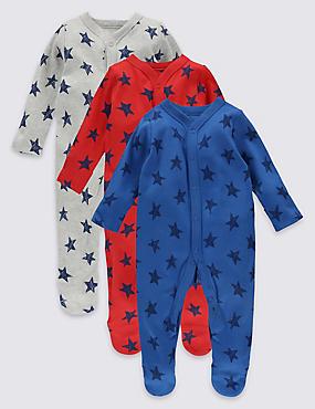3 Pack Star Print Cotton Sleepsuits, MULTI, catlanding