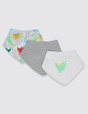 3 Pack Pure Cotton Baby Dribble Bibs, GREY MIX, catlanding