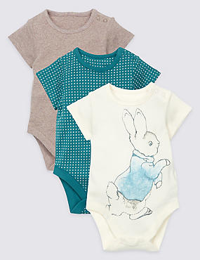 3 Pack Pure Cotton Peter Rabbit™ Bodysuits, VANILLA, catlanding
