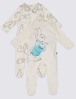2 Pack Pure Cotton Peter Rabbit™ Sleepsuits, VANILLA, catlanding