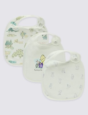 Winnie the Pooh 3 Pack Pure Cotton Baby Bibs, WHITE MIX, catlanding