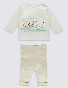 Winnie The Pooh 2 Piece Pure Cotton Outfit, WHITE MIX, catlanding