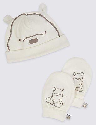 Winnie The Pooh Hat & Mitten Set, WHITE MIX, catlanding