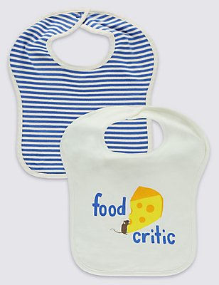 2 Pack Pure Cotton Bibs , WINTER WHITE, catlanding